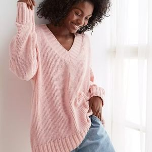 Aerie Pink Chenille V-Neck Oversized Sweater